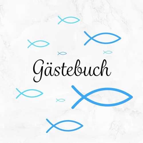Gästebuch: Taufe | Kommunion | Konfirmation | Firmung・Mit Fisch Deko in Blau perfekt für...