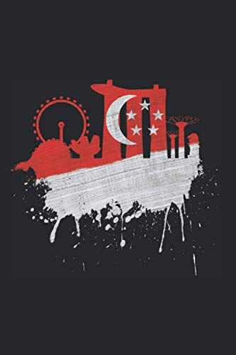 Singapur Skyline Notizbuch: Singapur Skyline Flagge Kunst Asien Fan Liebe Singapur Fahne (Liniert, 15 x 23 cm, 120 Linierte Seiten, 6