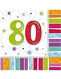 COOLMP – Set di 6 – 16 tovaglioli di Carta 80 Anni 33 x 33 cm – Taglia Unica – Decorazione e Accessori per Festa, Animazione, Compleanno, Matrimonio, Eventi, Giocattoli, Palloncino