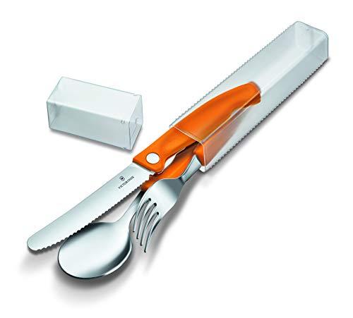 Victorinox Swiss Classic - Juego de cubiertos (3 piezas, cuchillo, tenedor, cuchara, apto para lavavajillas, acero inoxidable), color naranja