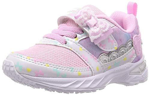 [シュンソク] スニーカー 運動靴 幅広 軽量 15~23cm 2.5E キッズ 女の子 LEC 6790 ピンク白底 15 cm