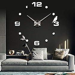 Netmetoo 3D Wall Clock DIY Large Sticker Modern Frameless Home Decor Silver Mirror for Bedroom Living Room Office Kitchen Bar Number Birdie Clock Plate