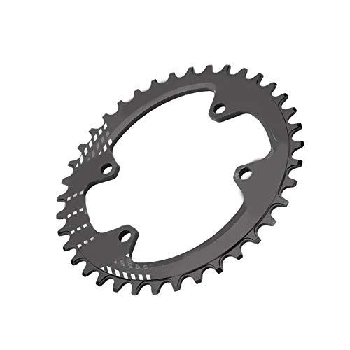 SALUTUYA Forma ergonómica CREA más Anillo de Cadena de tracción Stampede Plato de Bicicleta Aleación de Aluminio, para(Black, 38T)