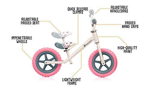 meteor Bicicleta sin Pedales Mini Bici Bebé Equilibrio con Sillín y Manilar Regulable Ideale para Niños 2-6 años (Rosa)