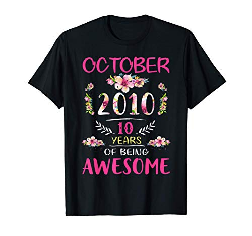 Flower Vintage October 2010 10th Birthday 10 Years Old T-Shirt