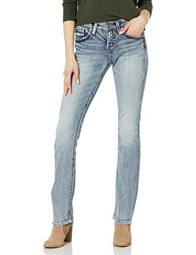 Silver Jeans Co. Women's Suki Curvy Fit High Rise Baby Bootcut Jean, Light Wash Indigo, 30W X 33L