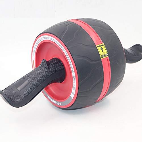 MIIGA Bauchroller Bauchmuskeltrainer mit Rückholfunktion inkl. Knieschonermatte Fitnesstraining für Zuhause Muskelaufbau am Bauch Rücken und Schultern BR-101 Schwarz/Rot