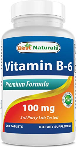 Vitamin B-6 100 mg 250 Tablets by Best Naturals -- Supports Casrdiovascular Health -- Manufactured in a USA Based GMP Certified Facility and Third Party Tested for Purity. Guaranteed!! (250 Tablets, 100 mg)