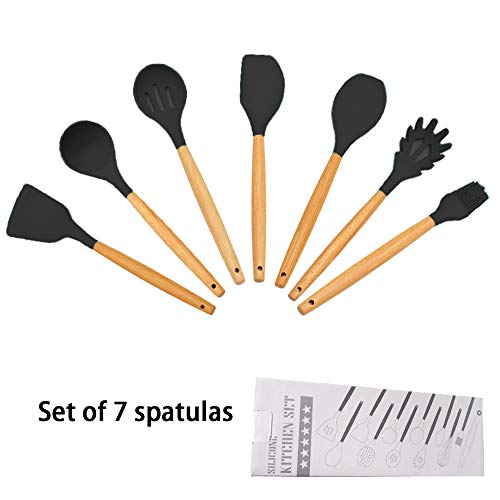 Spatulas Wooden Silicone Kitchen Utensil Set (7 Piece), High Heat Resistant to 446°F,for Cooking, Baking, Mixing. Nonstick Cookware friendly (Black)