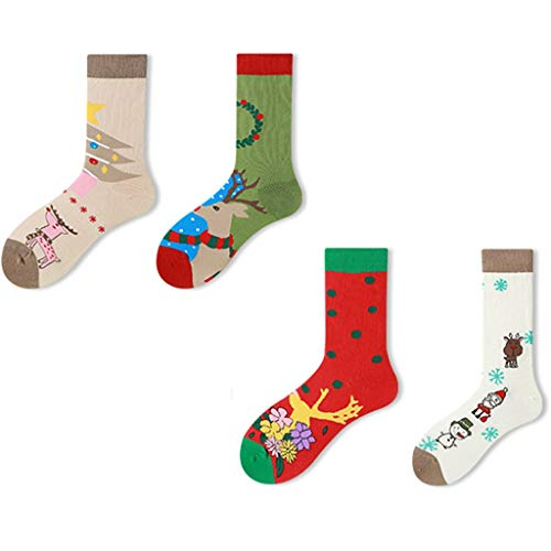 Chaussette Jolies Chaussettes De Noël pour Poupée en Trois Dimensions Costume Chaussettes Long Tube en Coton Coffret Cadeau 4 Paires De Chaussettes d'hiver en Coton (Color : A, Size : 4 Pairs)