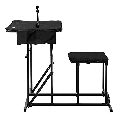 GYMAX Foldable Shooting Table Seat Set, Height Adjustable Hunting Gun Rest Table Shooting Bench Set for Outdoor Range (Black)