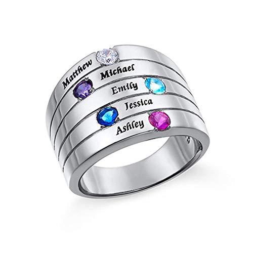 Personaliza 5 anillos de piedra natal Grabado 5 anillos de nombre Anillos envolventes Anillos familiares para abuela(Plata 18)