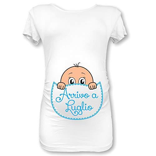 Babloo T Shirt Maglia Premaman in Arrivo a Luglio Bianca Maschietto M Manica Corta
