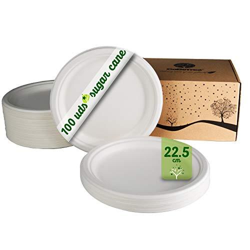 GoBeTree 100 Platos Desechables biodegradables de Papel de caña de azúcar de Ø22.5 cm en Caja de cartón. Platos extrafuertes de Color Blanco. Platos Redondos pequeños de bagazo.