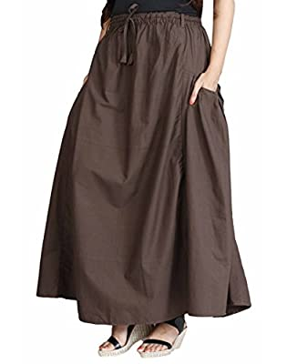 The Harem Studio Womens Girls Casual Long Skirt In A-Shape - Elastic Waist - 100% Cotton - 2 Falling Pockets