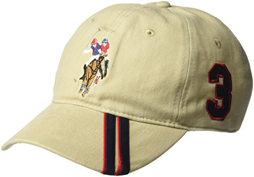 Concept One U.S Assn. Men's Polo Horse Adjustable Baseball Cap with Diagonal Accent Stripes, Khaki, One Size