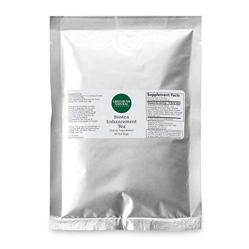 Greenbush Bust Tea, Organic Breast Enhancement Tea with Fenugreek Seed, Fennel Seed, Caraway Seed, and Other Natural Ingredients, Herbal Breast-Enhancer Formula, 60 Tea Bags (2 Grams per Bag)