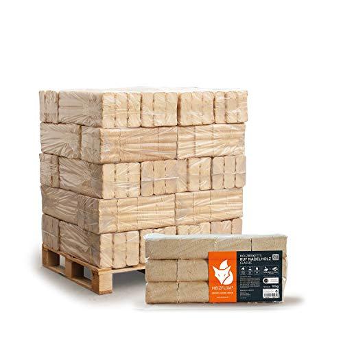 HEIZFUXX Holzbriketts Nadelholz Ruf Classic Kamin Ofen Brenn Holz Heiz Brikett 10kg x 30 Gebinde 300kg / 1 Palette Paligo