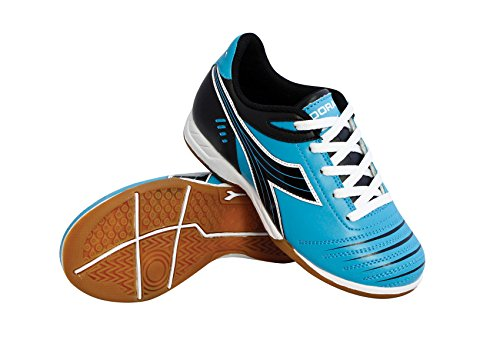 Diadora Kids' Cattura ID JR Indoor Soccer Shoes (4.5 Big Kid M, Columbia Blue/Black)