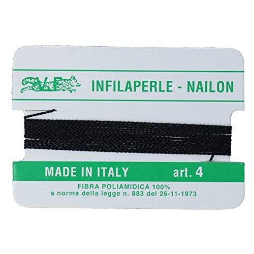 Filo infilaperle con ago colore nero in nylon per collane bracciali nailon varie misure (4 mm)
