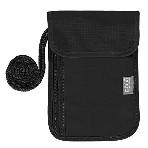 Simpeak RFID-Blocker Reisepass Tasche, Reisepasshülle aus Nylon mit Diagonaler Schulter für Damen und Herren - Schwarz