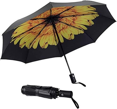 Paraguas de viaje resistente al viento, automático, ligero, irrompible, de gran eficiencia, de SY Compact, Negro), SY-2