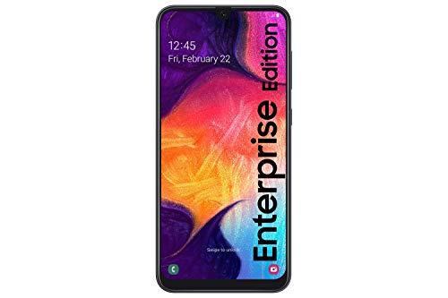 "Samsung Galaxy A50 Enterprise Edition - Smartphone de 6.4"" Super Amoled 2340 x 1080 Pixeles, cámaras 25/5/8 MP, 4 GB RAM, 128 GB ROM, batería 4000 mAh, Android 10, Negro [Versión Española]"