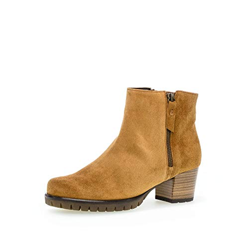 Gabor Damen elegante Stiefeletten, Frauen Ankle Boots,Wechselfußbett,COMFORT-Mehrweite, reißverschluss bootie,camel (Flausch),38 EU / 5 UK