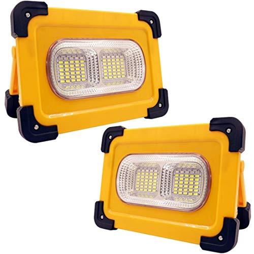 Faro Luce LED Solare Portatile 80W, Lampada da Lavoro Ricaricabile con Cavo USB,Faretto LED 4 Modalità Luce di Emergenza Esterna con la Funzione di Power Bank per Campeggio,Viaggio (2 Pacchi)
