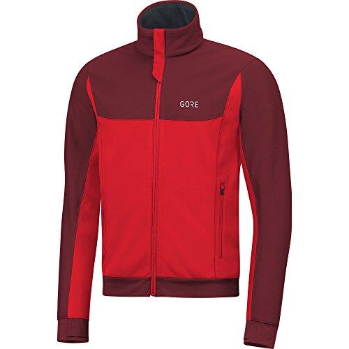 GORE WEAR Chaqueta cortavientos de running para hombre, R3 GORE WINDSTOPPER Thermo Jacket, S, Rojo/Burdeos, 100344