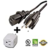 Huetron 1.5ft Short-Run Power Cord for Dell 1704FPT 17' LCD + 3 Way Cube Tap
