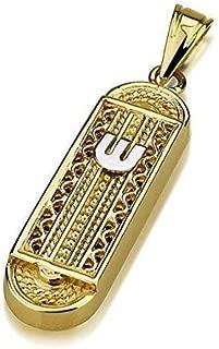 Baltinester Jewish Jewelry Solid 14k Gold Yemenite Filigree Mezuzah Necklace Pendant