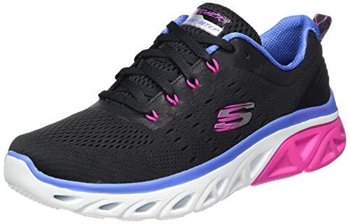 Skechers Damen Glide-Step Sport Fun Stride Sneaker, Schwarzes Netzgewebe, blau-pinkfarbener Rand, 41 EU