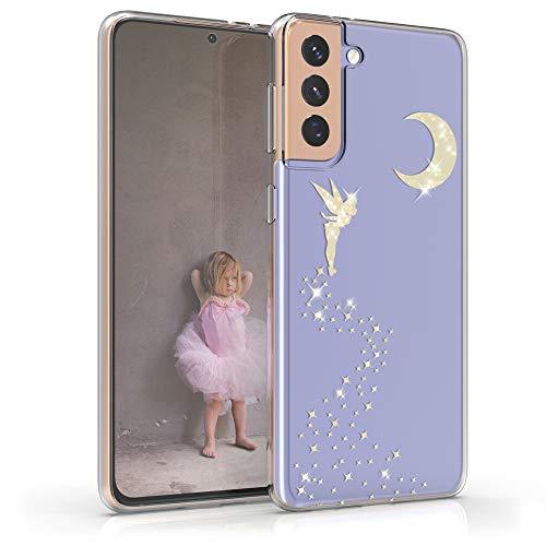kwmobile Cover Compatibile con Samsung Galaxy S21 Plus - Back Case Custodia Posteriore in Silicone TPU Cover per Smartphone - Back Cover Fata alata Oro Trasparente