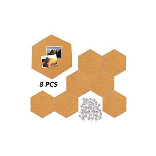 Ziyero DIY Kork Wand Memoboard Sechseckigen Korkplatten Selbstklebende Kork Fliesen Langlebig, Biologisch Abbaubar, für Foto Hängen, Heimdekoration, Büro Memorandum, 8 Stück mit 40 Stc Druckstift