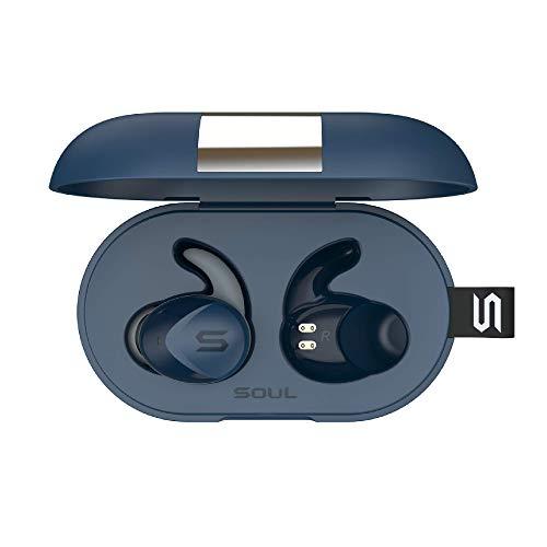 SOUL ELECTRONICS ST-XS2 ultimative Aktive Leistung True Kabellose Bluetooth 5.0 Kopfhörer mit IPX7 Wasserdicht und ergonomischer C-förmigen Ohrbügeln, Blau