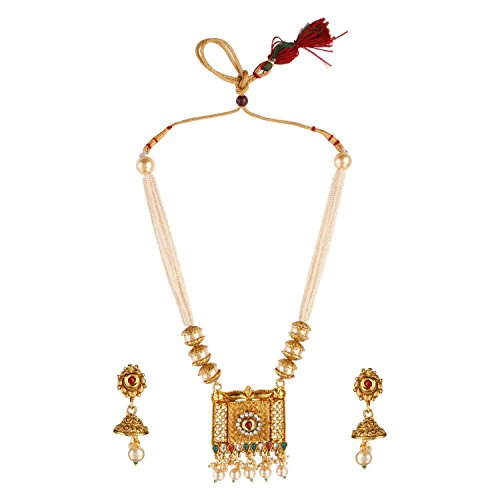 Efulgenz Indian Bollywood Traditional Floral 14 K Gold Plated Crystal Kundan Pearl Wedding Temple Necklace Earrings Jewellery Set