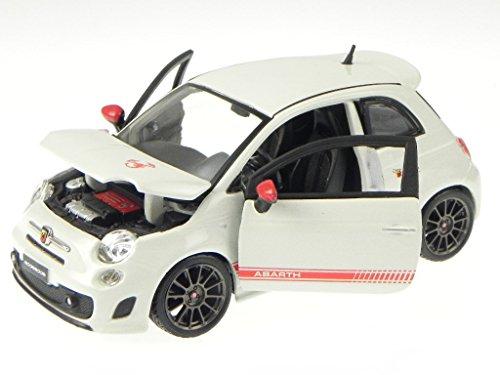 Fiat 500 Abarth EsseEsse weiss graue Felgen Modellauto Bburago 1:24
