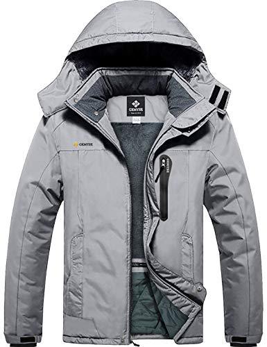 GEMYSE Men's Mountain Waterproof Ski Snow Jacket Winter Windproof Rain Jacket (Light Grey,Large)
