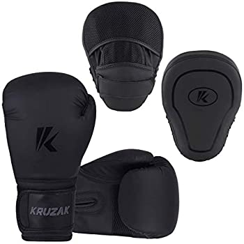 Kruzak Matte Black Boxing Gloves and Focus Mitts Set for Kickboxing and Muay Thai MMA Training - Fitness Kit with Punching Pads for Martial Arts and Karate  Matte Black 16 oz