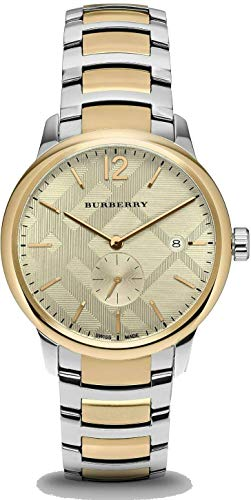 Swiss Gold 2 Tone Silver Date Dial 40mm Men Stainless Steel Wrist Watch The Classic BU10011