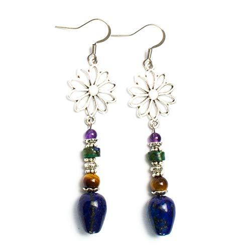 Kimaya - Pendientes artesanales de lapislázuli, ojo de tigre, crisocola y amatista, plata 925