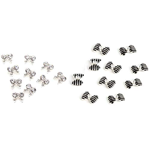 SNOWINSPRING 10 x Bow Tie 3D Clear Rhinestone Nail Art & 10x Special Silver Black Bow Tie Silver 3D Alloy Nail Art Slices Glitters