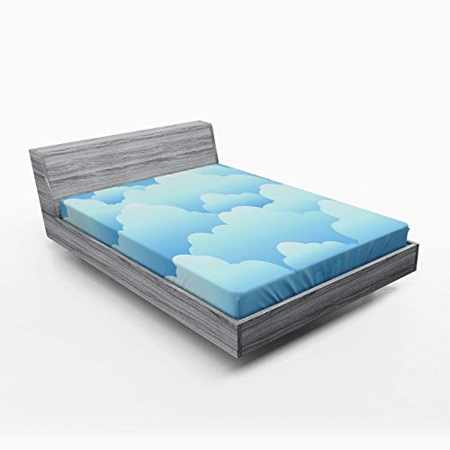 ABAKUHAUS Nube Sábana Elastizada, Look laminar de cúmulos, Suave Tela Decorativa Estampada Elástico en el Borde, 150 x 190 cm, Azul y Azul Claro
