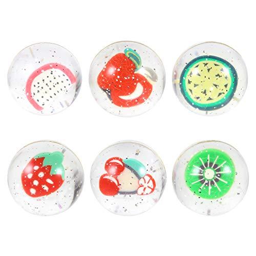 TOYANDONA 6Pcs Bolas de Rebote de Frutas de Goma Mini Bolas de Rebote Transparentes para Niños Juguetes Regalos Actividades de Clase de Favor de Fiesta (Colores Surtidos 4 Cm)