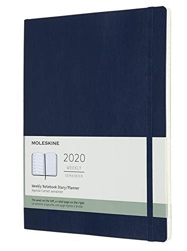 Moleskine - Agenda Semanal de 12 Meses 2020, Tapa Blanda y Goma Elástica, Color Azul Zafiro, Tamaño Extra Grande 19 x 25 cm, 144 Páginas