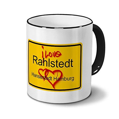 digital print Städtetasse Rahlstedt - Hansestadt Hamburg - Design Ortsschild Graffiti - Stadt-Tasse, City-Mug, Becher Schwarz
