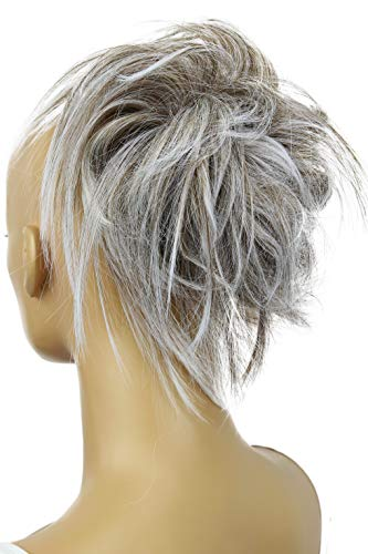 PRETTYSHOP XXL Haarteil Haargummi Hochsteckfrisuren Brautfrisuren Voluminös Gewellt Unordentlich Dutt Grau Mix G10F