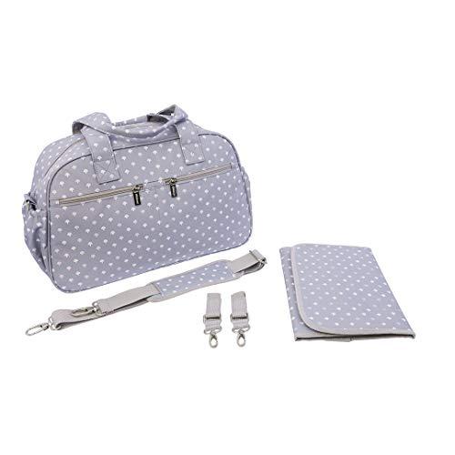 Kiwisac Trendy Grey Palmira Rosa Bolso Maternal Unisex con un Diseño Original y Divertido/Bolsa de Mamá con Cambiador Bandolera Ajustable, Color Gris, 44x18x27 cm ⭐