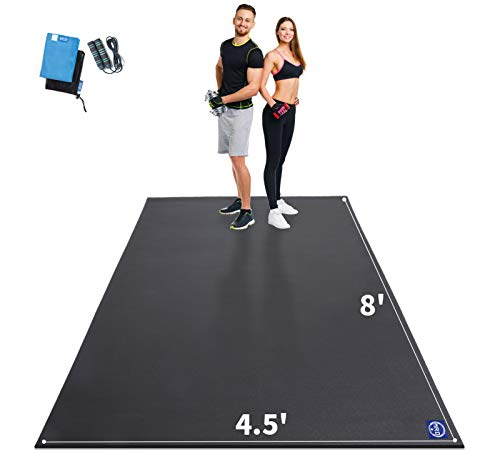 Premium Large Exercise Mat 8' x 4.5' x 7mm, High-Density Workout Mats for Home Gym Flooring, Non-Slip, Extra Thick Durable Cardio Mat, and Ideal for Plyo, MMA, Jump Rope - Shoe Friendly